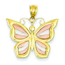 14k Two-tone Gold Butterfly Pendant 18x24 mm 2.44 gr *** Made in USA