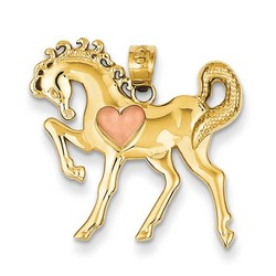 14k Two-tone Gold Horse Heart Charm 20x25 mm 1.64 gr *** Made in USA