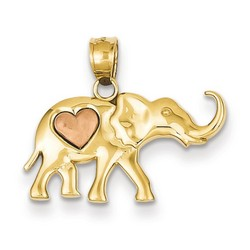 14k Two-tone Gold Elephant Heart Charm 12x22 mm 1.1 gr *** Made in USA