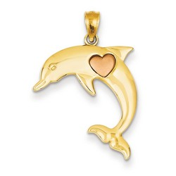 14k Two-tone Gold Two Tone Dolphin Heart Pendant 20x20 mm 1.17 gr ** Made in USA