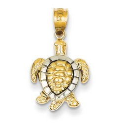 14k Two-tone Gold Yellow White Gold Turtle Charm 15x11 mm 1.71 gr ** Made in USA