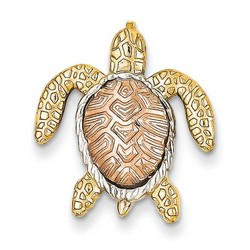 14k Two-tone Gold and White Turtle Pendant Slide 20x20 mm 1.44 gr ** Made in USA