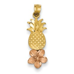 14k Two-tone Gold Pineapple Plumeria Pendant 20x8 mm 1.25 gr *** Made in USA