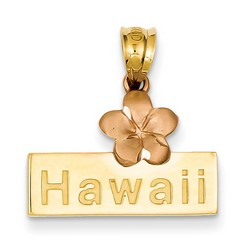 14k Two-tone Gold Hawaii Plumeria Flower Pendant 13x20 mm 1.53 gr ** Made in USA