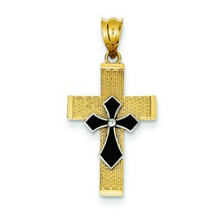 14k Two-Tone Gold Latin Cross Charm 22 x 15 mm *** MADE IN USA