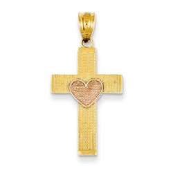 14k Two-Tone Gold Latin Cross Pendant 24 x 15 mm *** MADE IN USA