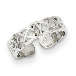 14k White Gold Polished Small Celtic Knot Adjustable Toe Ring