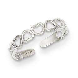 14k White Gold Dainty Alternating Open Hearts Adjustable Toe Ring