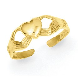 14k Yellow Gold Polished Claddagh Adjustable Toe Ring With Open Hands Design