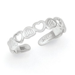 14k White Gold Polished Inverted Hearts Adjustable Toe Ring