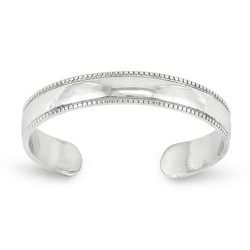 14k White Gold Polished Mill Grain Adjustable Toe Ring