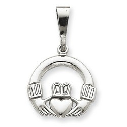 14k White Gold Claddagh Charm 16x17 mm 1.93 gr *** Made in USA