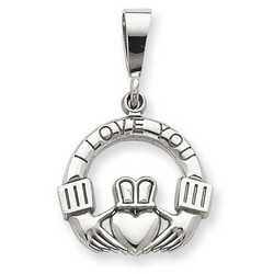 14k White Gold I Love You Claddagh Charm 16x17 mm 2.11 gr *** Made in USA