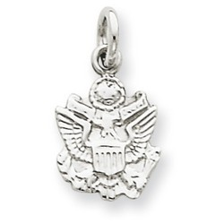 14k White Gold U.S. Army Insignia Charm 11x10 mm 0.51 gr *** Made in USA