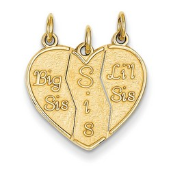14k Yellow Gold 3 piece Break apart Lil, Big Sis, Sis  Charm 16x18 mm 1.49 gr