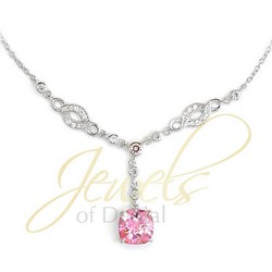 Pink Rosette CZ Necklace With Chain 925 Sterling Silver