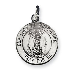 Our Lady of Guadalupe 15mm Medal Charm in 925 Sterling Silver