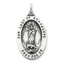 Our Lady of Guadalupe 30mm Oval Medal Charm in 925 Sterling Silver