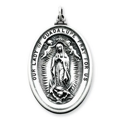 Our Lady of Guadalupe Oval 35mm Medal Charm in Antiqued 925 Sterling Silver