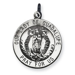 Our Lady Of Guadalupe 18mm Medal Charm in 925 Sterling Silver