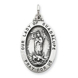 Our Lady of Guadalupe Oval 25mm Medal Charm in 925 Sterling Silver