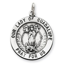Our Lady of Guadalupe 21mm Medal Charm in 925 Sterling Silver