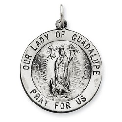 Our Lady of Guadalupe 25mm Medal Charm in 925 Sterling Silver