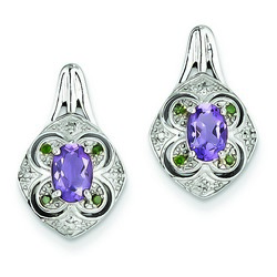 Amethyst & Diamond Earrings in 925 Sterling Silver 18x10mm 3.15gr 0.74ct