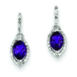 Amethyst & Diamond Earrings in 925 Sterling Silver 10x5mm 1.26gr 0.6ct