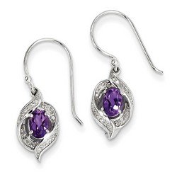 Amethyst & Diamond Earrings in 925 Sterling Silver 25x8mm 2.5gr 0.8ct