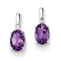 Amethyst & Diamond Earrings in 925 Sterling Silver 10x4mm 0.87gr 0.81ct