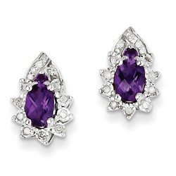 Amethyst & Diamond Earrings in 925 Sterling Silver 13x8mm 2.9gr 0.91ct