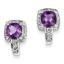 Amethyst & Diamond Earrings in 925 Sterling Silver 15x10mm 4.19gr 1.28ct