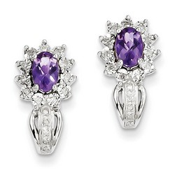 Amethyst & Diamond Earrings in 925 Sterling Silver 17x9mm 3.59gr 0.41ct