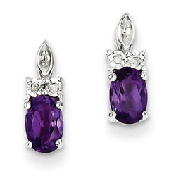 Amethyst & Diamond Earrings in 925 Sterling Silver 12x4mm 1.5gr 0.96ct