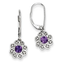 Amethyst & Diamond Earrings in 925 Sterling Silver 27x10mm 2.19gr 0.59ct