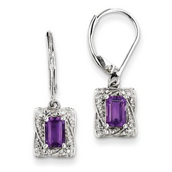 Amethyst & Diamond Earrings in 925 Sterling Silver 25x7mm 2.3gr 1.1ct