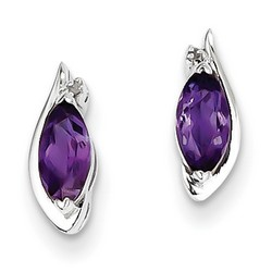 Amethyst & Diamond Earrings in 925 Sterling Silver 10x4mm 1.37gr 0.7ct