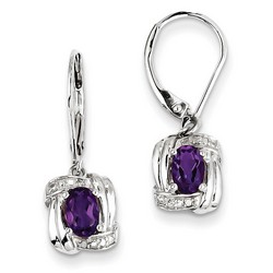Amethyst & Diamond Earrings in 925 Sterling Silver 25x8mm 2.51gr 0.87ct
