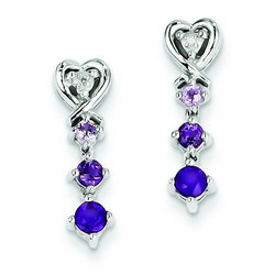 Amethyst & Diamond Earrings in 925 Sterling Silver 17x5mm 1.97gr 0.4ct