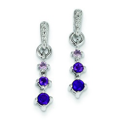 Amethyst & Diamond Earrings in 925 Sterling Silver 21x3mm 1.76gr 0.39ct
