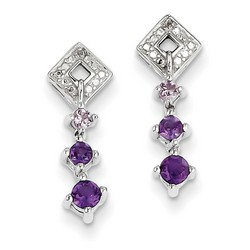 Amethyst & Diamond Earrings in 925 Sterling Silver 17x5mm 1.87gr 0.39ct