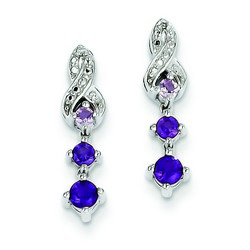 Amethyst & Diamond Earrings in 925 Sterling Silver 17x4mm 1.69gr 0.4ct
