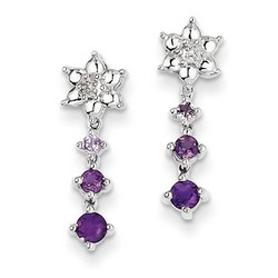 Amethyst & Diamond Earrings in 925 Sterling Silver 20x6mm 2.04gr 0.4ct