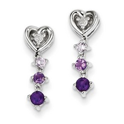 Amethyst & Diamond Earrings in 925 Sterling Silver 17x5mm 2gr 0.4ct