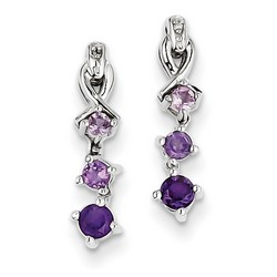 Amethyst & Diamond Earrings in 925 Sterling Silver 17x3mm 1.58gr 0.39ct