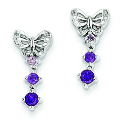 Amethyst & Diamond Earrings in 925 Sterling Silver 17x9mm 2.04gr 0.39ct