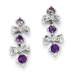 Amethyst & Diamond Earrings in 925 Sterling Silver 17x7mm 2.22gr 0.39ct