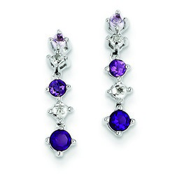 Amethyst & Diamond Earrings in 925 Sterling Silver 17x3mm 1.48gr 0.4ct