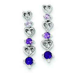 Amethyst & Diamond Earrings in 925 Sterling Silver 20x3mm 2.14gr 0.39ct
